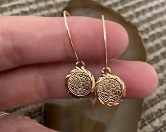 Gold Disc Earrings, Gold Coin Earrings, Ornate Gold Earrings, Gold Drop Earrings