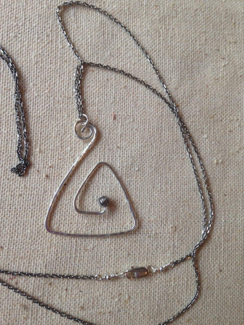 Sterling Silver Chain and Geometric Hammered Wire Pendant image 0