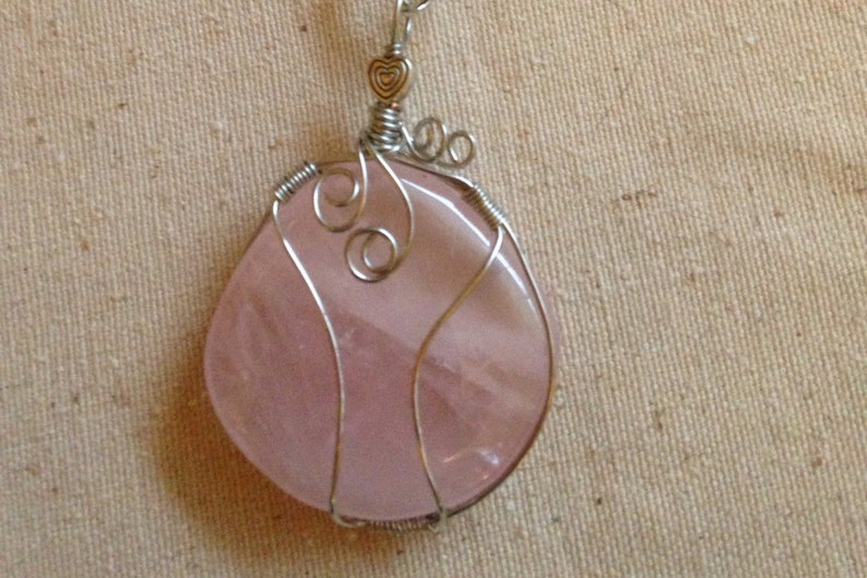 Rose Quartz Wire Wrapped Pendant Necklace image 0
