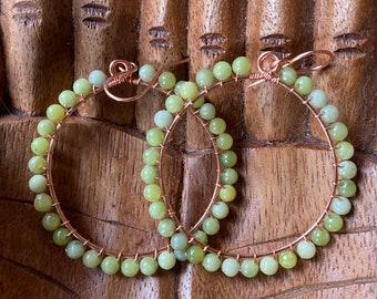 Jade Hoop Earrings - Jade Bead Earrings - Hammered Copper Hoops - Canadian Jade Earrings - Large Jade Hoops