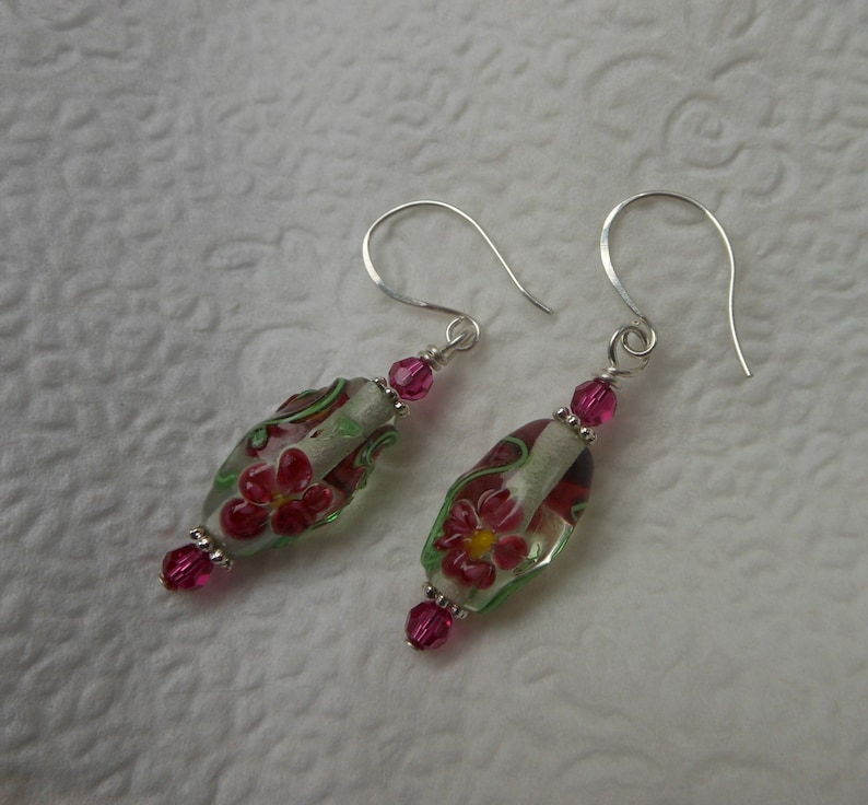Lamp work Glass Beads with Flowers  Pink Flower Earrings image 0