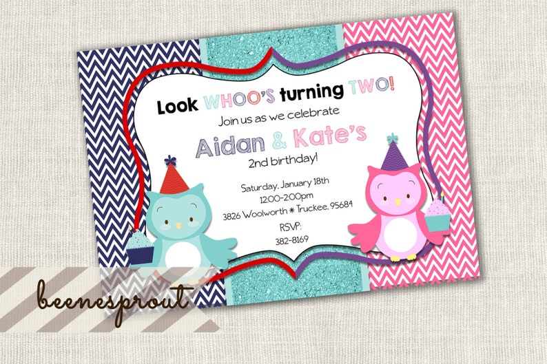 Cupcake Owl Birthday Invitation