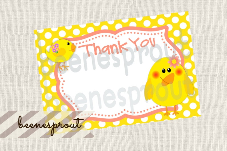 Birthday Chick Thank You Note Blank Instant Download