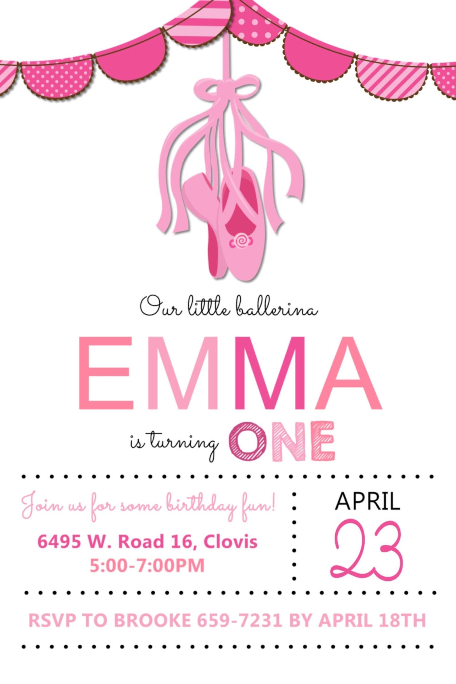 little ballerina ballet party birthday invitation