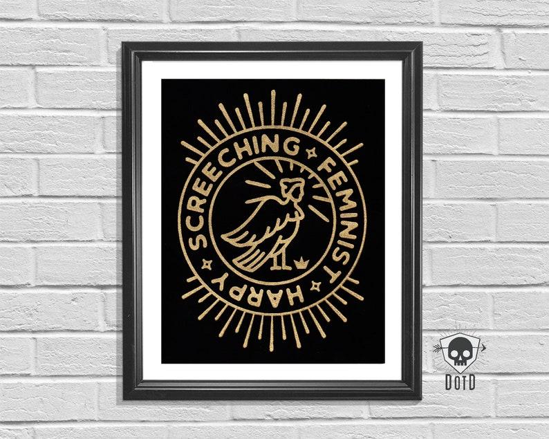 Screeching Feminist Harpy 8x10 hand pulled art paper print image 0