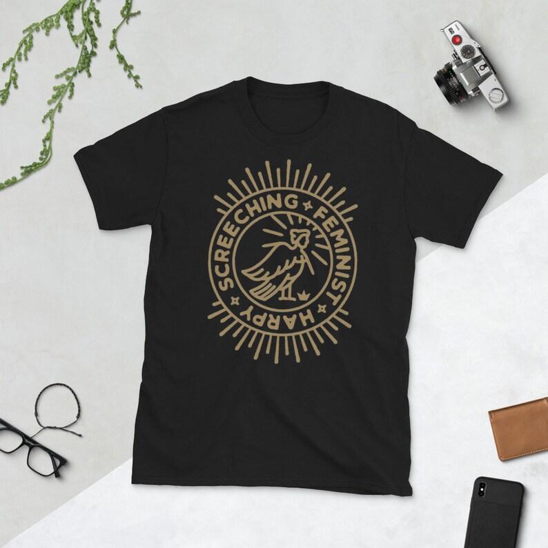 Screeching Feminist Harpy cotton t-shirt in black UNISEX SIZES image 0