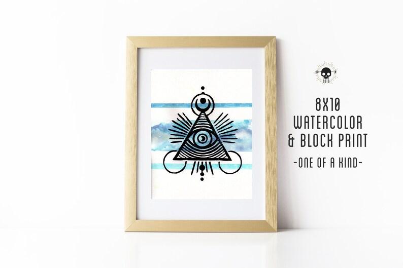 Illuminati Lore Mixed Media OOAK Watercolor and Block Print image 0