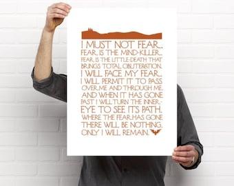 Dune Litany Against Fear frank herbert block 18x24 hand pulled screen print geek gift