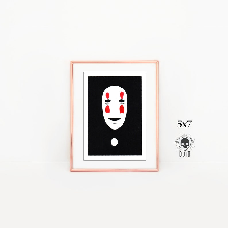 No Face hand pulled art print 5x7 paper print geek gift image 0