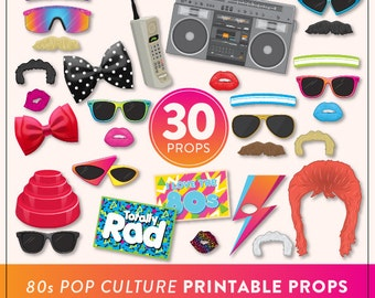 DIY 80s Photo Booth Props | 30 Printable 80s Props | Instant Download | 80s Photo-Booth