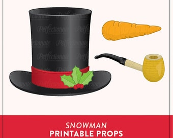 Snowman Props PDF | Christmas Printable | Instant Download | Photo-Booth Clipart