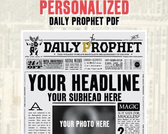 image relating to Daily Prophet Printable identified as Day by day prophet Etsy