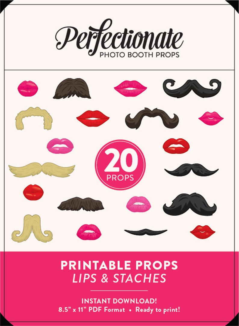 photo regarding Printable Mustache and Lips titled Lips and Mustaches Printable Props 20 Mustaches and Lips Props Fast Obtain Mustaches and Lips