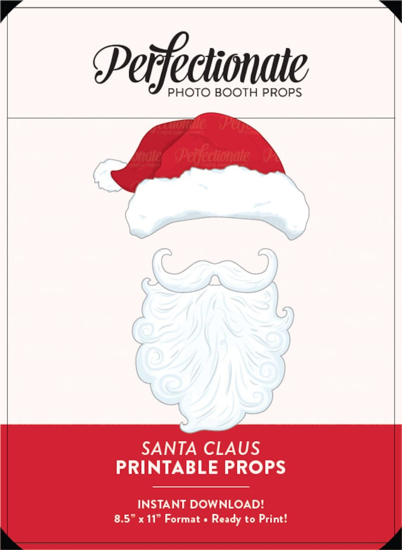 photo about Printable Santa Hat referred to as Printable Xmas Props Santa Hat and Beard Printable Santa Props  Immediate Down load