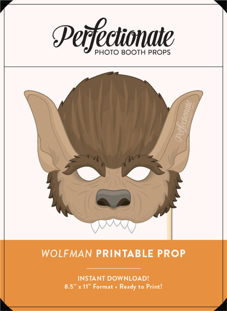 Diy Halloween Props Animated.Printable Werewolf Mask Prop Halloween Printable Prop Diy Halloween Props Instant Download Photo Booth Clipart