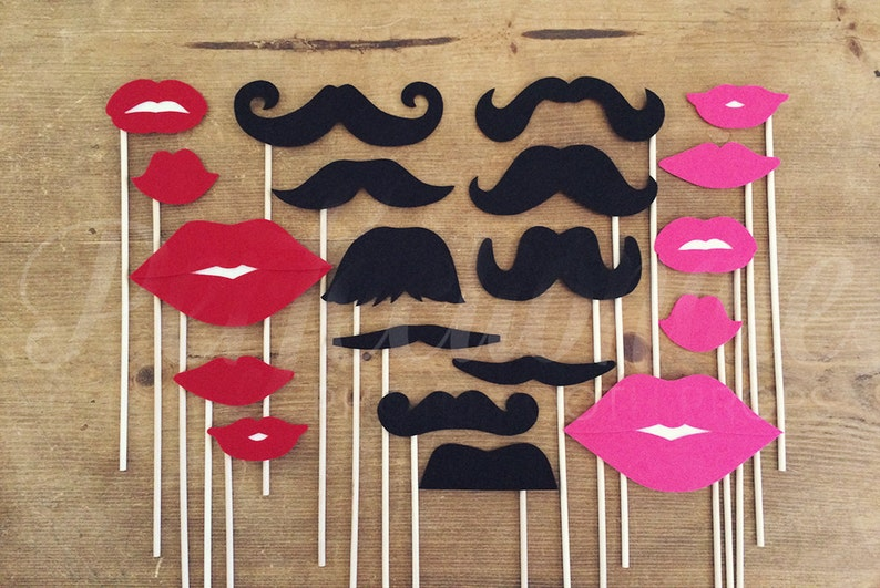20 Stiff Felt Lips and Mustaches Photo-Booth Props | Gender Reveal Party  Props | Oversized Lips
