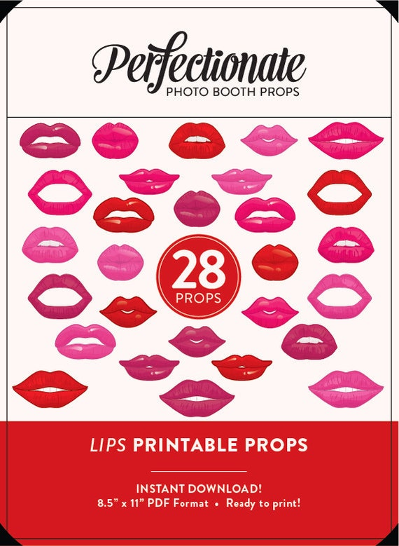 image relating to Printable Lips titled Printable Lips Picture Booth Props 28 Printable Lips Props Fast Down load Lips Photograph-Booth Clipart