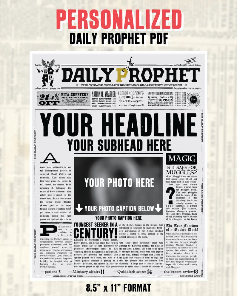 image regarding Daily Prophet Printable named Custom made Day by day Prophet Entrance Web site Printable PDF Potter Help save the Day  Potter Kid Announcement Not An Immediate Not Editable