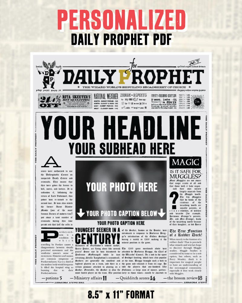 Custom Daily Prophet Front Page Printable Pdf Potter Save Etsy