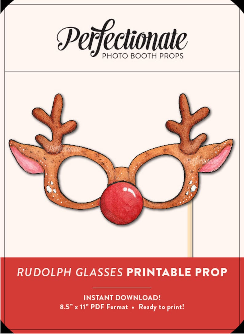 image about Christmas Photo Props Printable known as Printable Xmas Prop Printable Rudolph Prop Do-it-yourself Xmas Props  Quick Down load Photograph-Booth Clipart