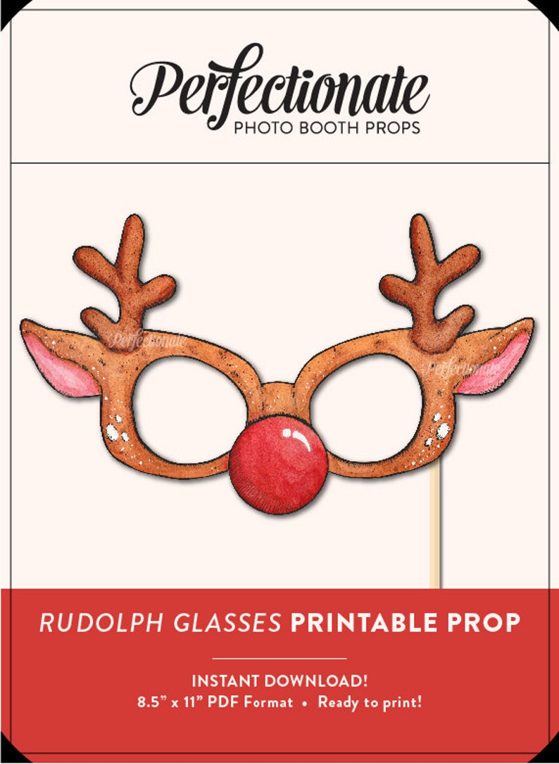 image about Christmas Photo Props Printable titled Printable Xmas Prop Printable Rudolph Prop Do it yourself Xmas Props  Immediate Obtain Photograph-Booth Clipart