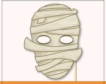 Mummy Mask Printable | Halloween Mummy Printable Prop | Mummy Instant Download
