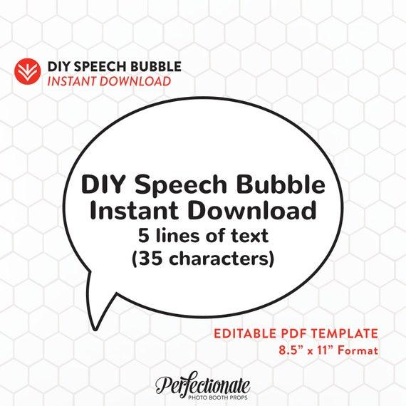 Speech Bubble Printable Editable Speech Bubble Template Etsy