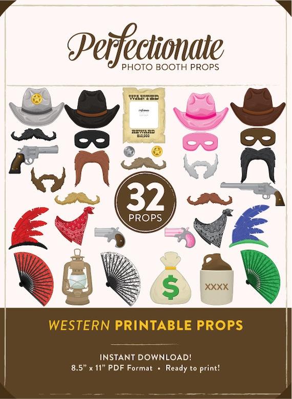 Printable Western Photo Booth Props 32 Printable Cowboy Etsy