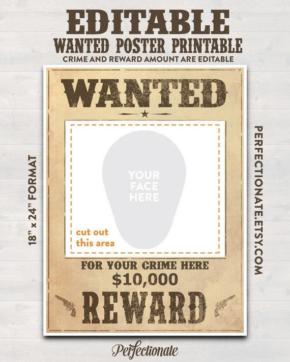 Wanted Poster Printable 18 X 24 Instant Download