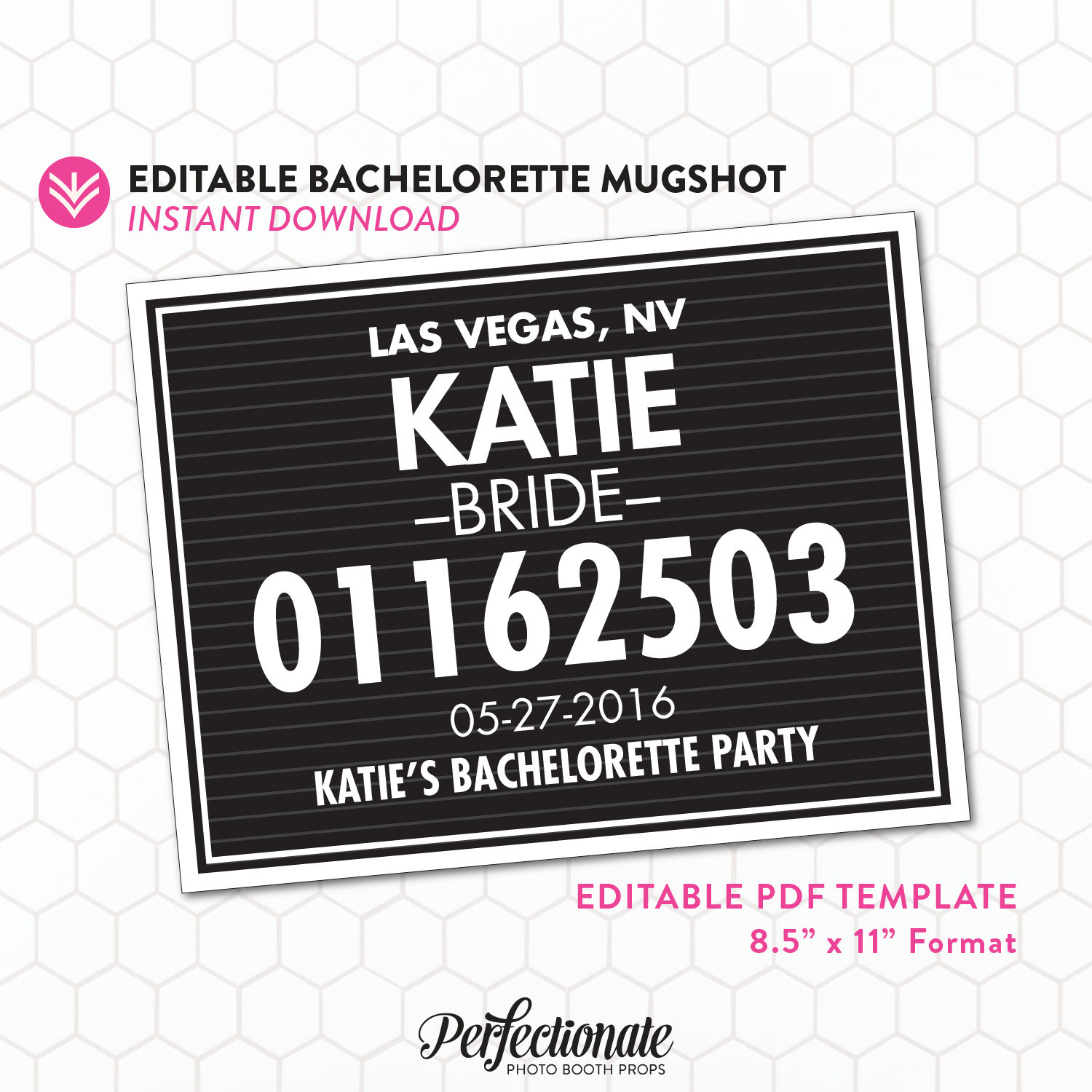DIY Bachelorette Mugshot Sign Template Unlimited Personal | Etsy