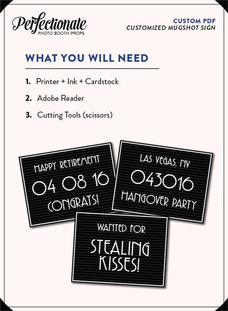 You Provide Your Text and We Create 1 PDF Gatsby Mugshot Sign PDF Printable PDF Gangster Mugshot Sign