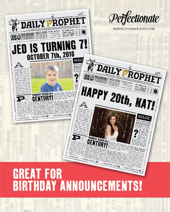 picture about Daily Prophet Printable referred to as Custom made Day-to-day Prophet Entrance Site Printable PDF Potter Help you save the Day  Potter Youngster Announcement Not An Quick Not Editable