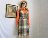 70s M Mohair Skirt Vest Suit Purple Green Plaid