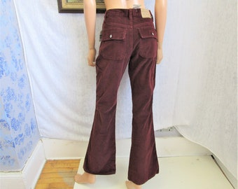 ee1d37e32c909 90s 4 American Eagle Cords Flares Jeans Burgundy Deadstock