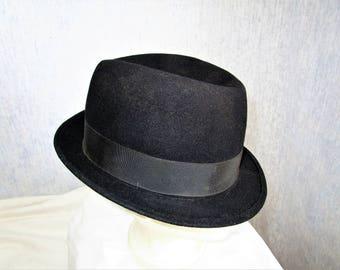 71103f9af86 50s 7 3 8 Stratton Felt Stingy Brim Fedora HAT Black