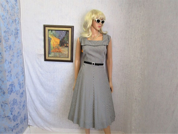 50s XL Taffeta Gingham A line DRESS Black White