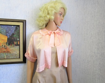 30s-40s XL Rayon Satin Lingerie Bed Jacket Pink