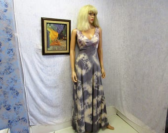 90s XL Tie Dye Polyester Evening Gown Dress Gray Beige