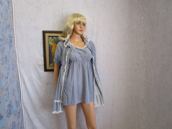 50s S Ardru Babydoll Lingerie Nightie Peignoir Blu