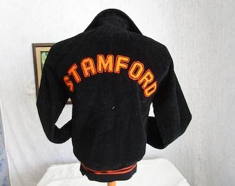 70s S Corduroy Stamford Highschool Niagara Falls Baseball Jacket Apollo Brand Black
