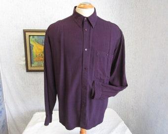 80s L Florenzi Men's Rayon L/S SHIRT Eggplant Purple