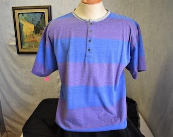 90s M Barrier Sport T Shirt Purple Blue Striped