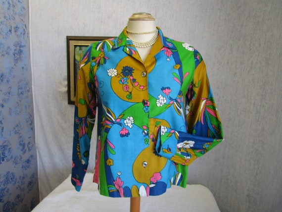 60s M Style Craft Psychedelic Print Cotton L/S BLO