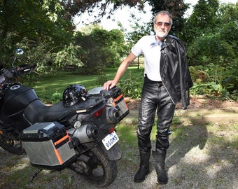 80s 34 x 32 Leather Biker Motorcycle Pants Black Blue & Gold Stripe