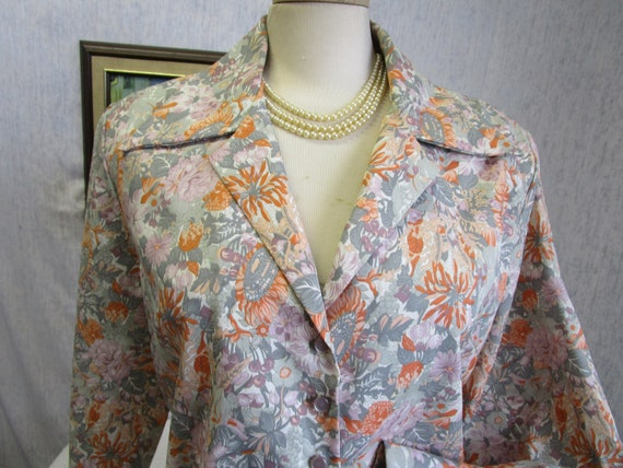 70s 2X Polyester Floral L/S Big Collar BLOUSE Top