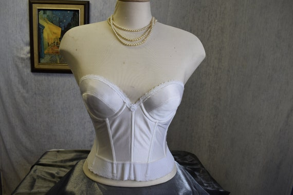 80s 36B Strapless Backless Longline Bustier Bra Wh