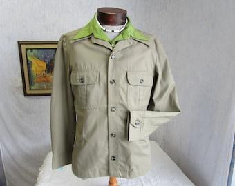 70s M McGregor Leisure Safari Jacket Men's Big Collar Beige