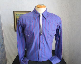 "80s 17 1/2"" XL Pearl Snap Men's Western Urban Cowboy Dark Blue Red Stripe Shirt"
