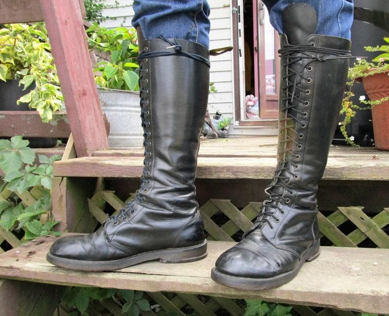 80s 12 Doc Martens Men's 20 Hole Boots Black Distressed image 0