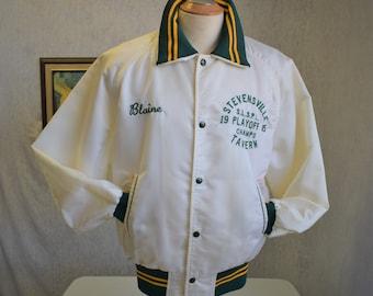 80s 46 L Satin Baseball Jacket Mens Stevensville Niagara Falls White